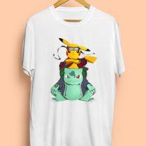 Pikachu Bulbasaur Pokemon Naruto Parody T Shirt