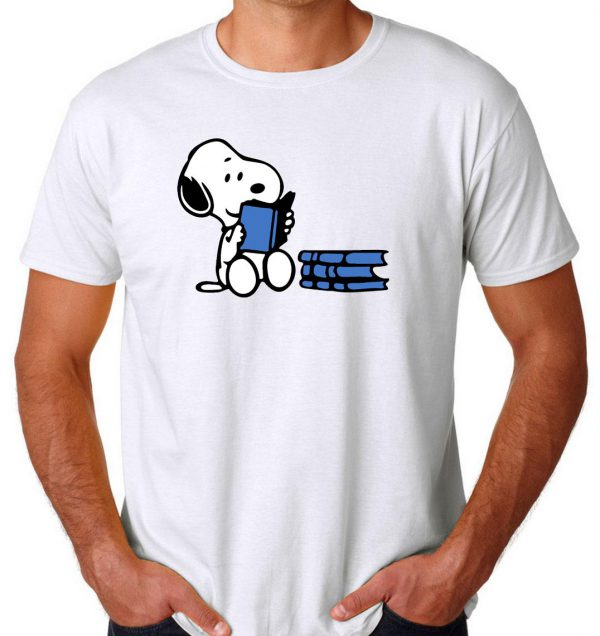 Snoopy reading a book Mens Womens Adult T-shirts