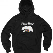 Papa Bear Autism Dad Gift Pullover Hoodie