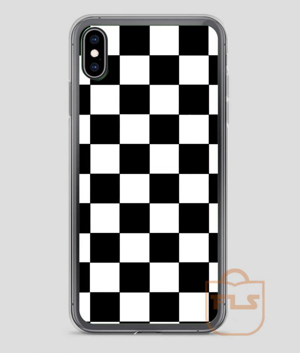 Checkered Black and White Pattern iPhone Case