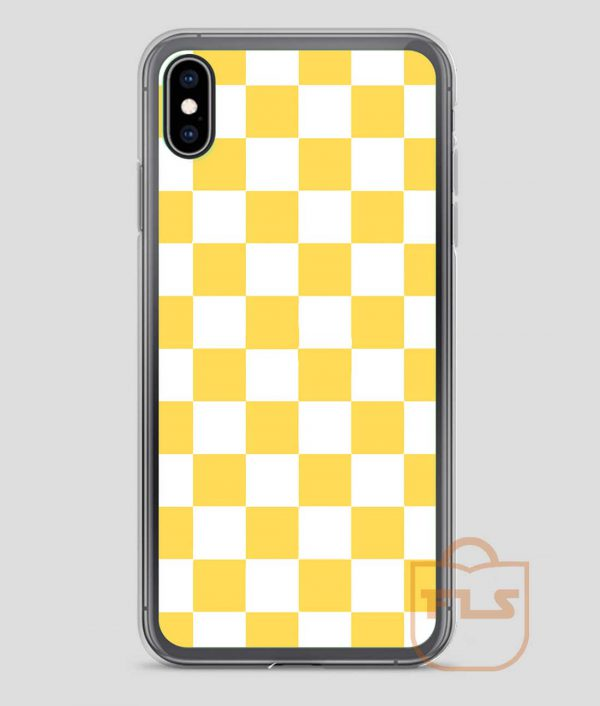 Yellow-And-White-Checkerboard-Pattern-iPhone-Case