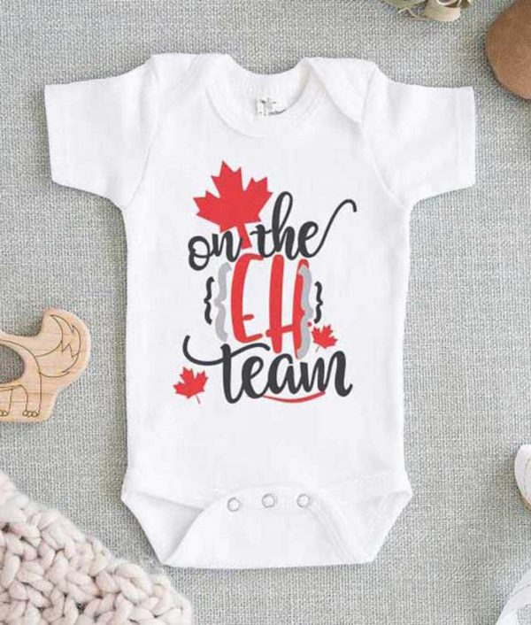 Canadian Baby On the Eh Team Baby Onesie