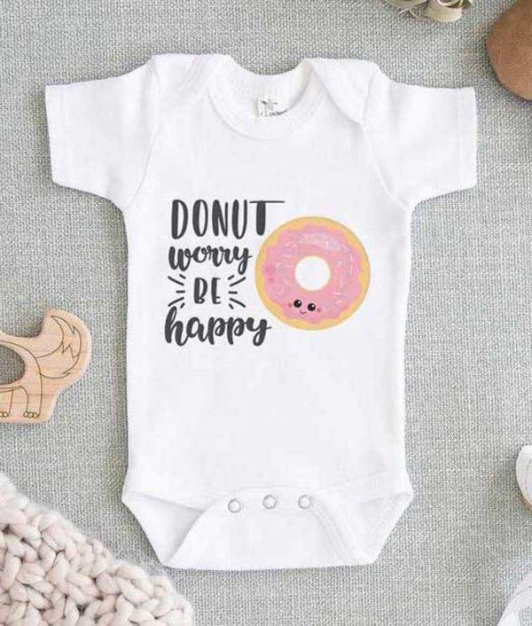 Donut Worry Be Happy Baby Onesie
