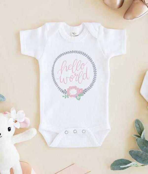 Hello World Cute Baby Onesie