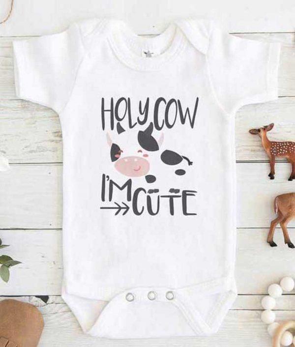 Holy Cow Im Cute Baby Onesie