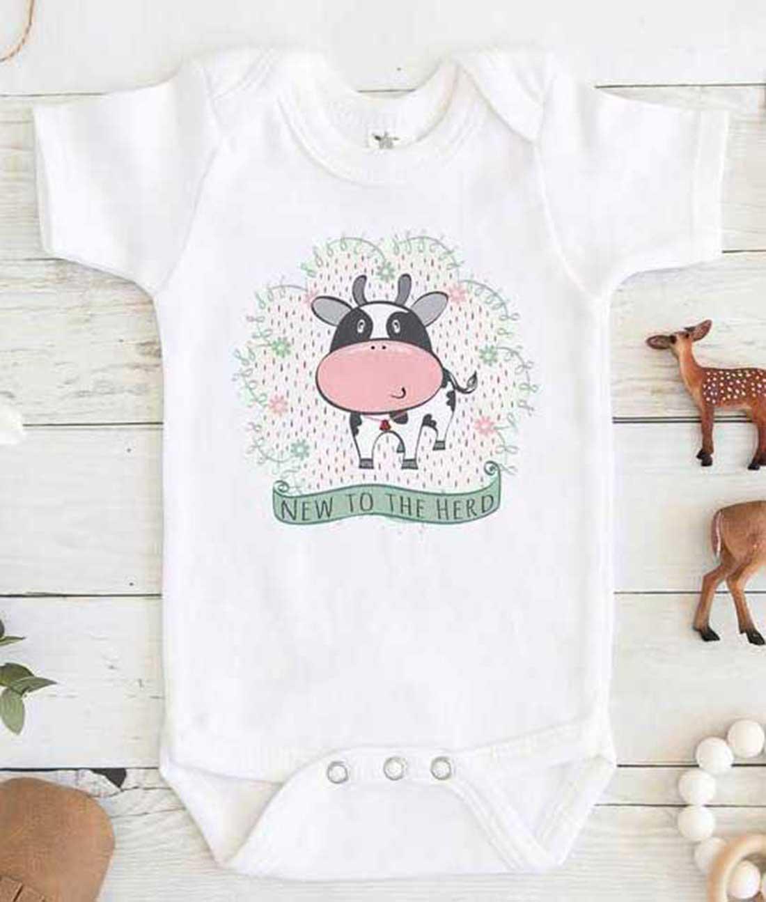 New to the Herd Cow Baby Onesie - FEROLOS.COM