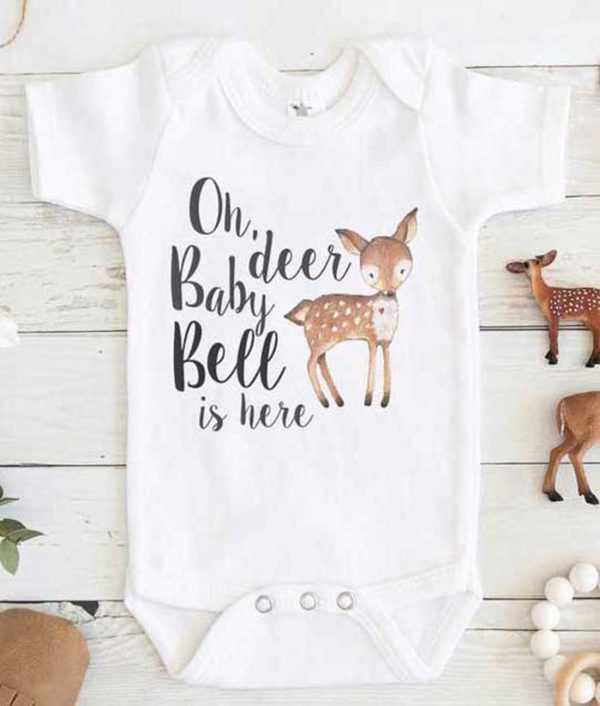 Oh Deer Baby Bell is Here Baby Onesie