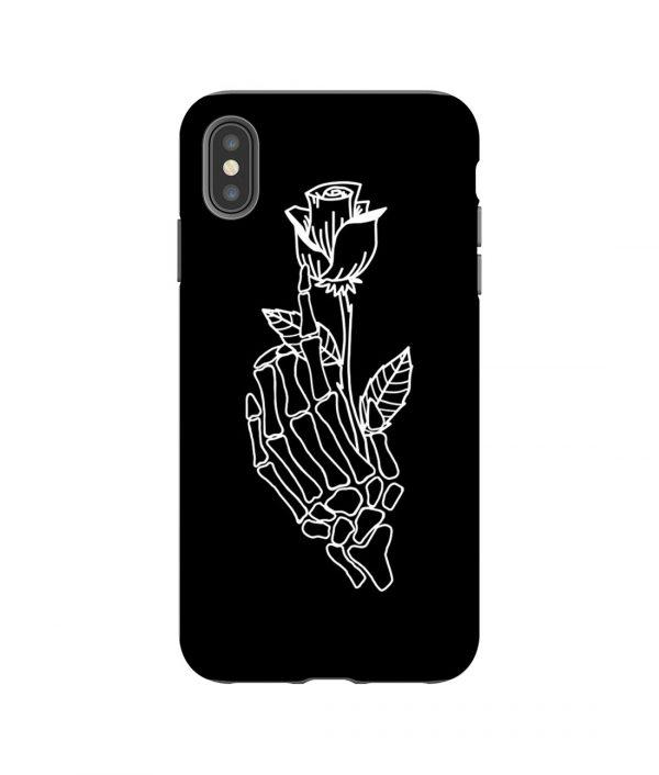 Rose on Skeleton Hand iPhone Case