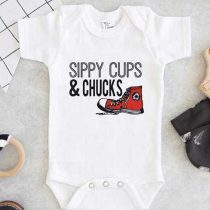 Sippy Cups & Chucks Baby Onesie