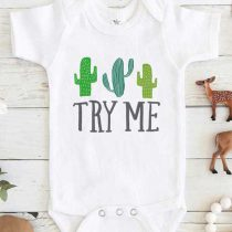 Try Me Cactus Baby Onesie