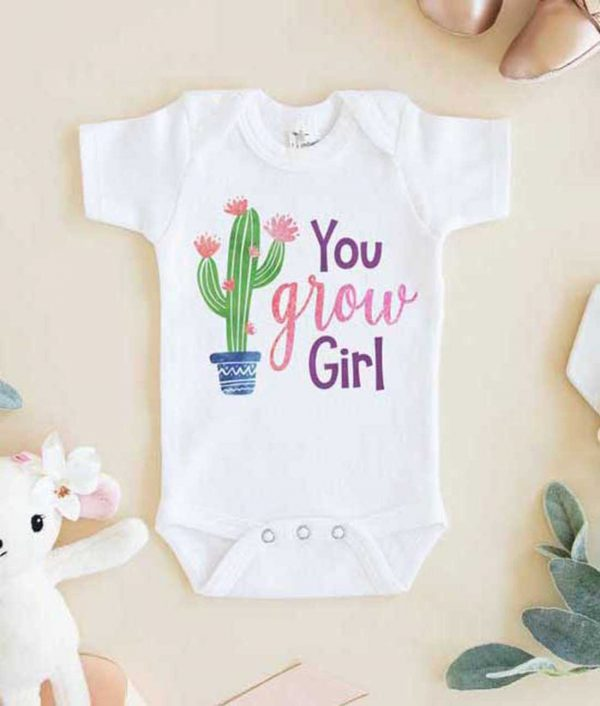 You Grow Girl Cactus Baby Onesie