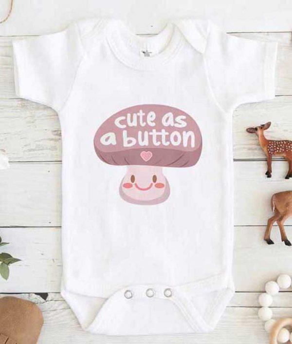 cute as a button baby Onesie Baby Onesie