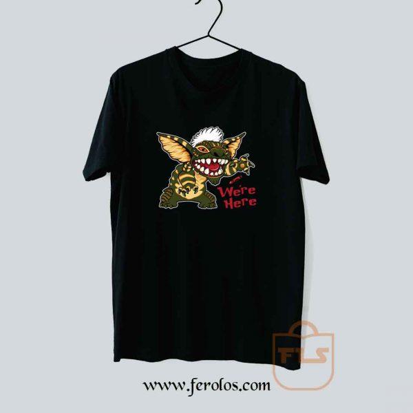 We are Here Gremlins Stripe Stitch 80s Cult Movie T Shirt