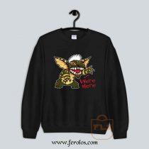 We're Here Gremlins Stripe Stitch 80s Cult Movie Sweatshirt
