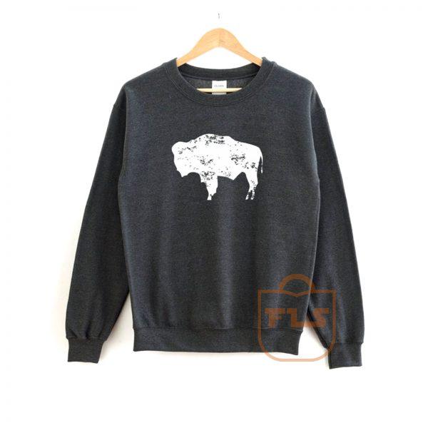 Bison Wyoming Flag Sweatshirt
