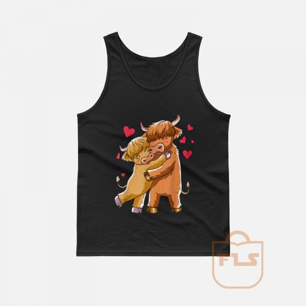 Cuddle Highland Cattle Scottish Cow Farmers Tank Top