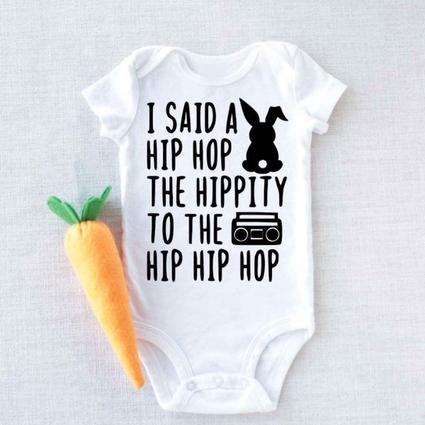 Hipster Bunny I Said A Hip Hop Easter Baby Onesie