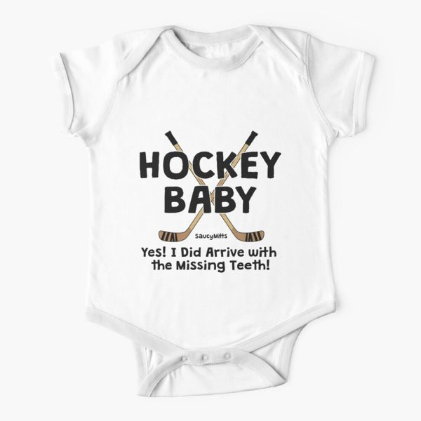 Hockey Baby Yes I Arrived With Missing Teeth Baby Onesie