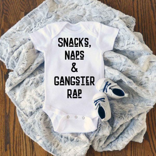 Nap and Gangster Rap Music 90s Funny Hip Hop Baby Onesie