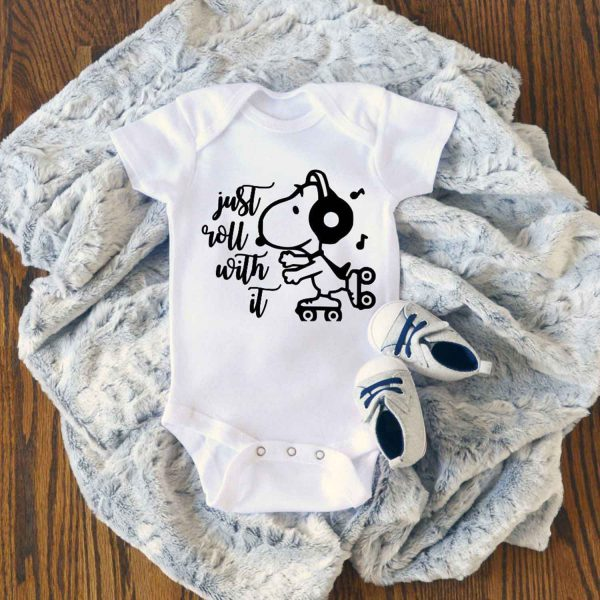 Snoopy Just Roll With It Baby Onesie