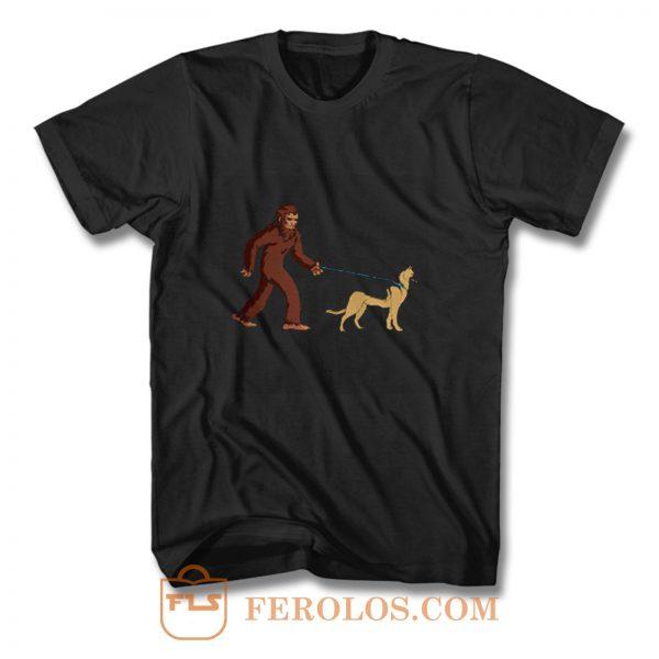 Bigfoot Walking German Shepherd T Shirt