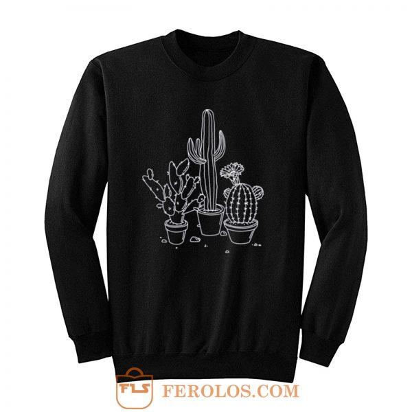 Cactus Drawing Grunge Sweatshirt