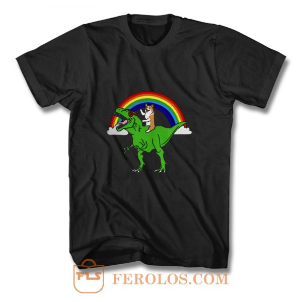 Corgi Riding T Rex Dinosaur T Shirt