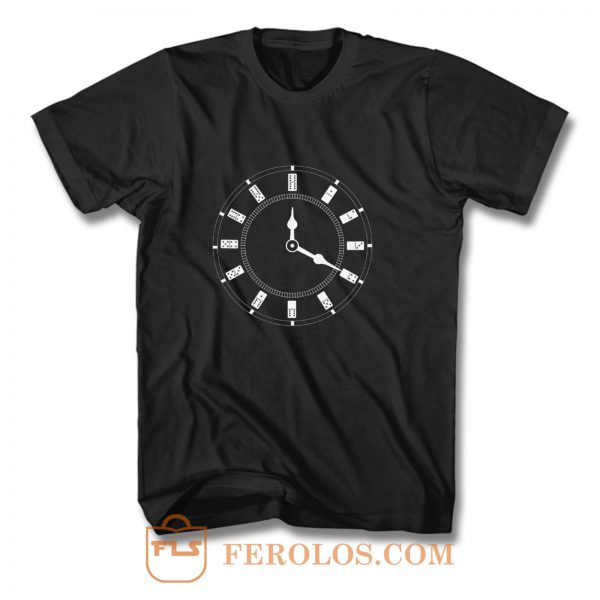 Domino Clock Dominoes Tiles Puzzler Game T Shirt