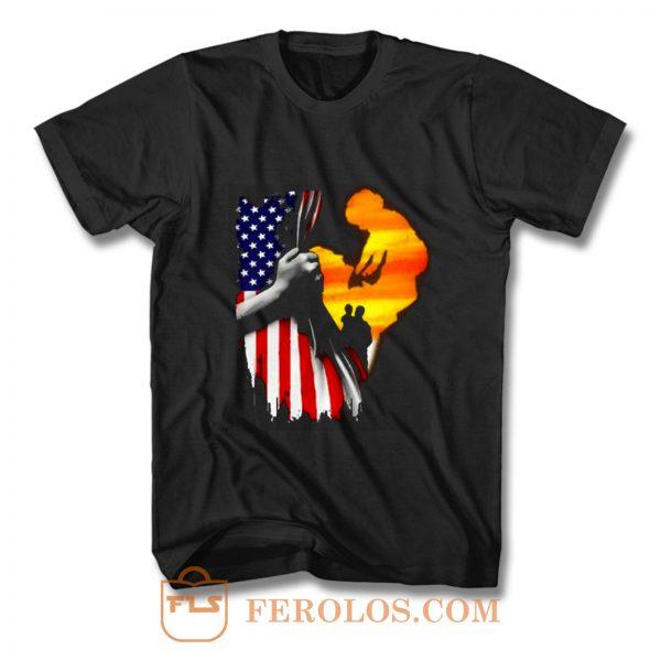 Father and son Usa Flag T Shirt