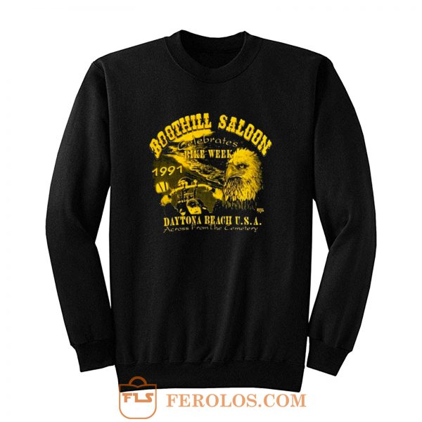 Boothill Saloon Biker Rally Single Stitch Pocket Sweatshirt