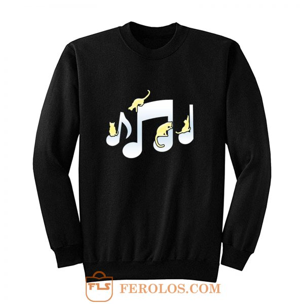 Cats Playing On Musical Notes Sweatshirt