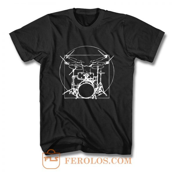 Da Vinci Drums Rock Drummer T Shirt