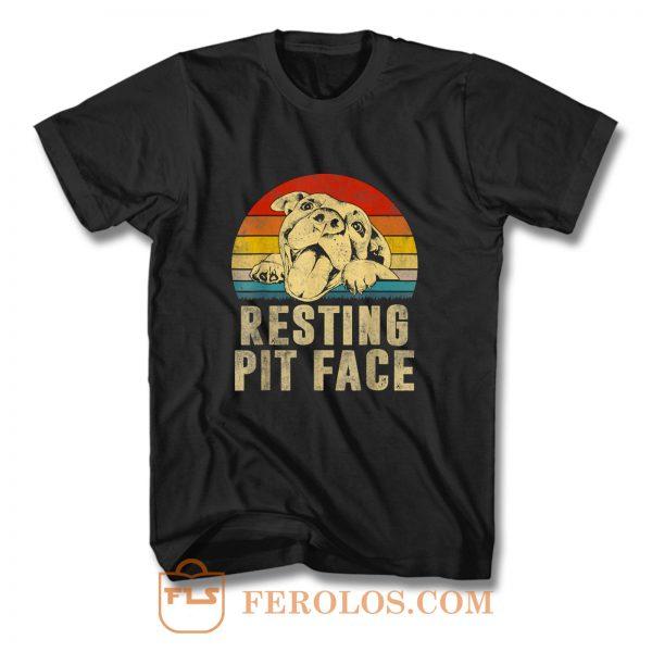 Dog Pitbull Resting Pit Face Vintage T Shirt