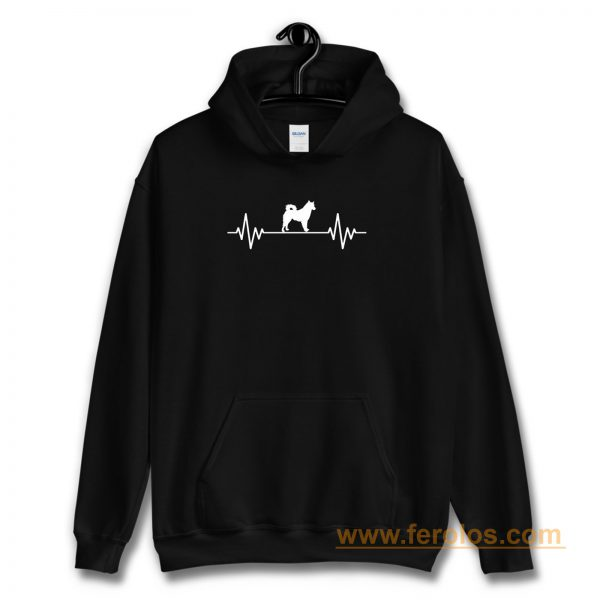 Heart Beat Rate Pulse Alaskan Malamute Dog Walking Hoodie