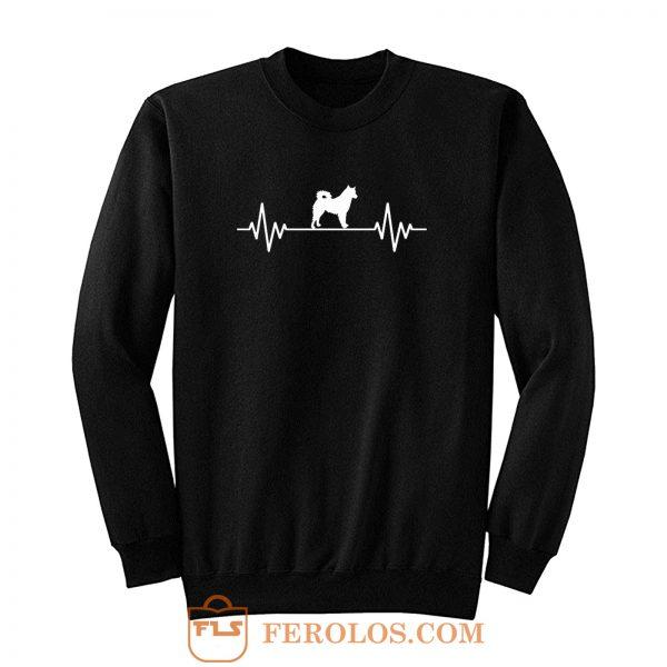 Heart Beat Rate Pulse Alaskan Malamute Dog Walking Sweatshirt