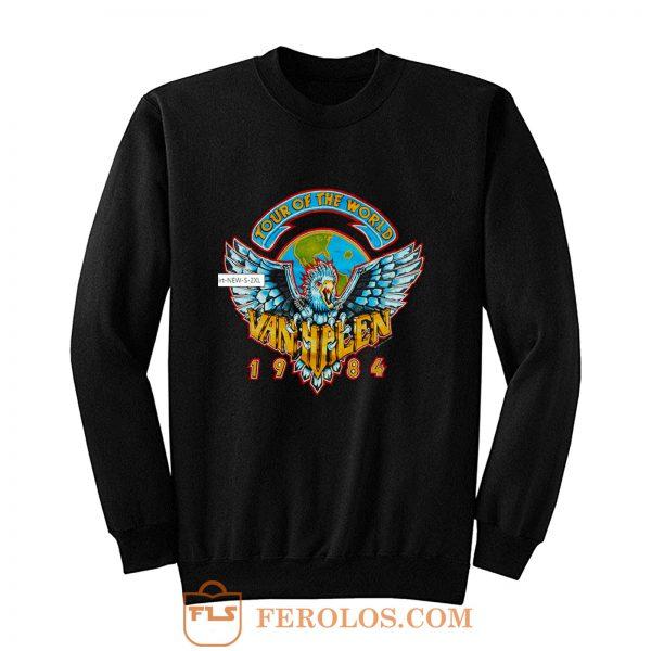 Heavy Cotton Van Halen 1984 World Tour Men Black Concert Sweatshirt
