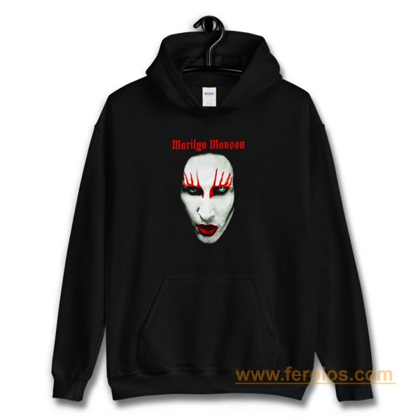 MARILYN MANSON Big Face Red Lips Gothic Hoodie