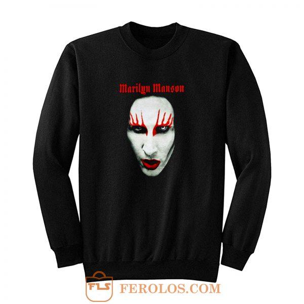 MARILYN MANSON Big Face Red Lips Gothic Sweatshirt