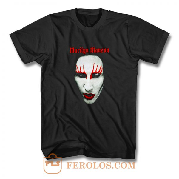 MARILYN MANSON Big Face Red Lips Gothic T Shirt