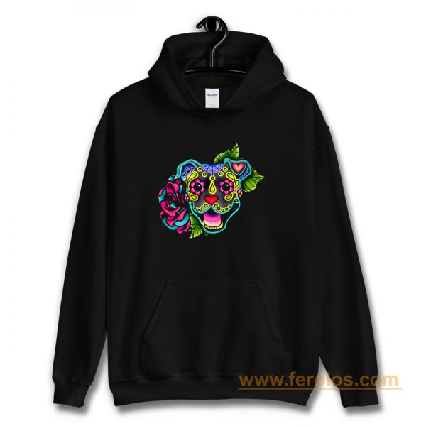 Smiling Pit Bull in Blue Day of the Dead Pitbull Sugar Skull Hoodie