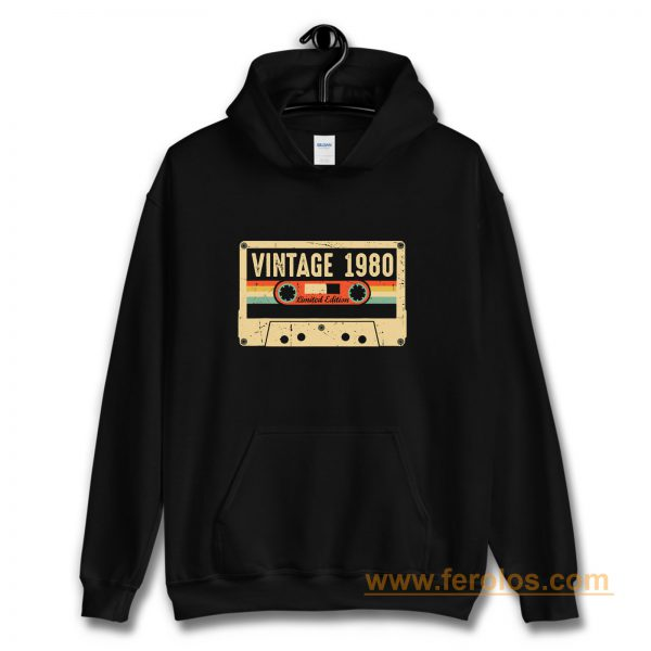 Vintage 1980 Made in 1980 40th birthday Gift Retro Cassette Hoodie