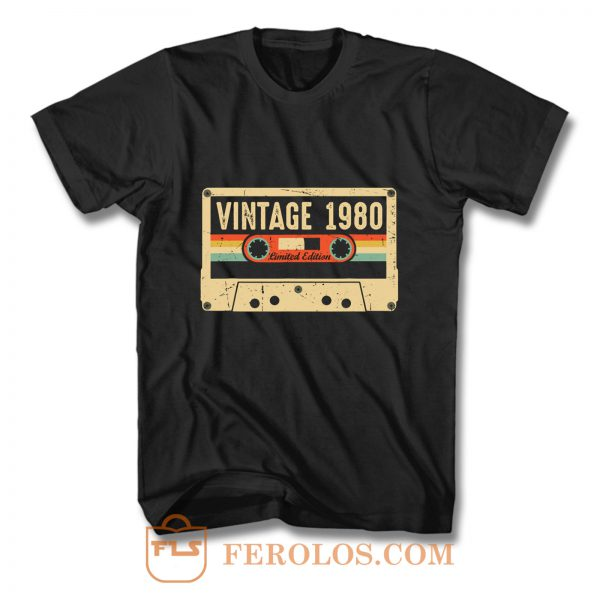 Vintage 1980 Made in 1980 40th birthday Gift Retro Cassette T Shirt