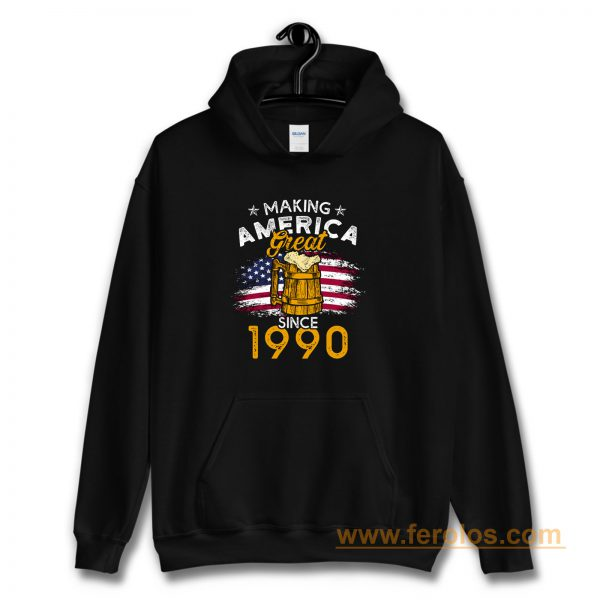 Vintage Beer 1990 Making America Great Since 1990 Beer Lover Hoodie