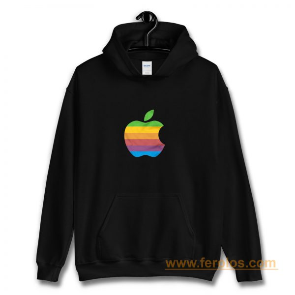 Apple Computer 80s Rainbow Logo Hoodie