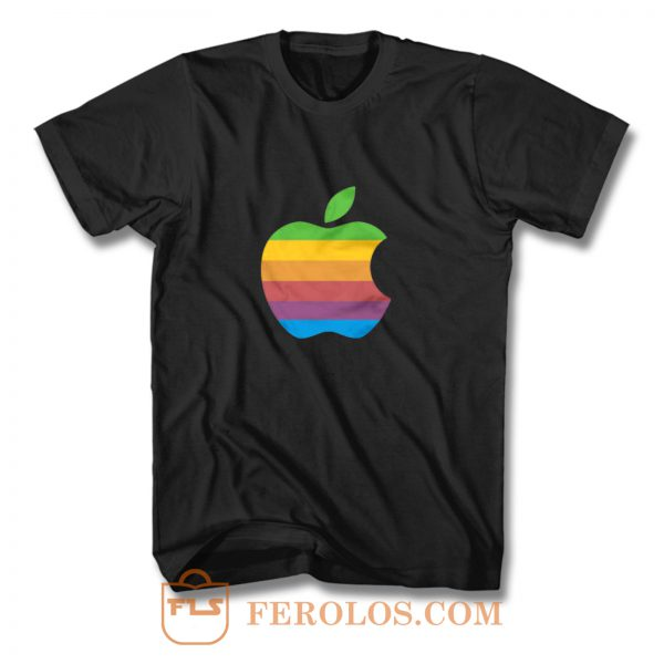 Apple Computer 80s Rainbow Logo T Shirt