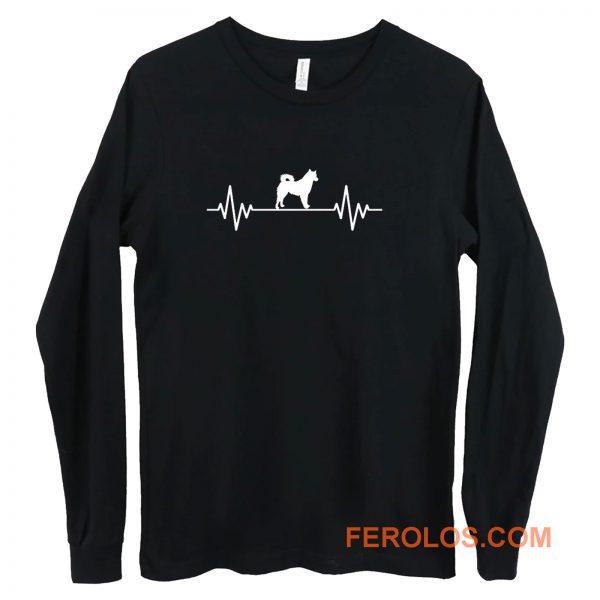 Heart Beat Rate Pulse Alaskan Malamute Dog Walking Long Sleeve