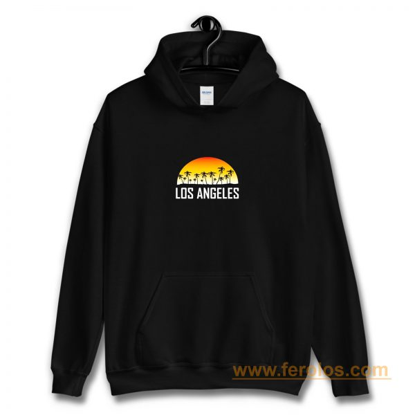 Los Angeles California Sunset And Palm Trees Beach Vacation Hoodie