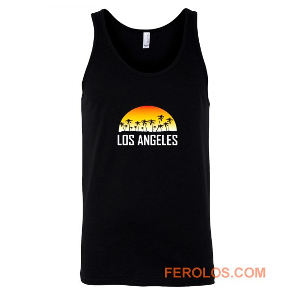 Los Angeles California Sunset And Palm Trees Beach Vacation Tank Top