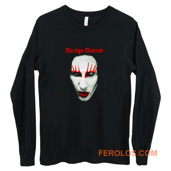MARILYN MANSON Big Face Red Lips Gothic Long Sleeve