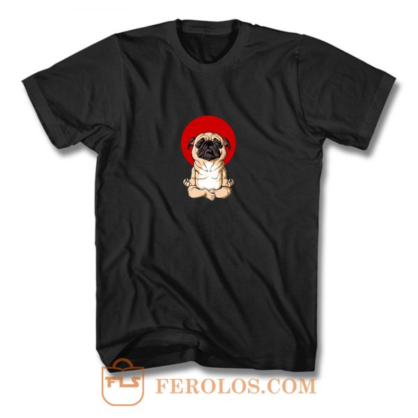 Meditation Pug Blood Moon Yoga Puppy Pet Dog T Shirt